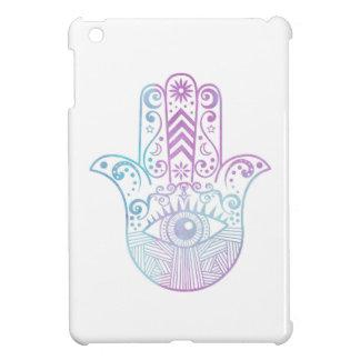 Hamsa手の紫色および青の水彩画 iPad Miniケース