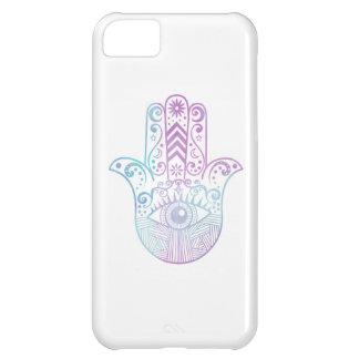 Hamsa手の紫色および青の水彩画 iPhone5Cケース