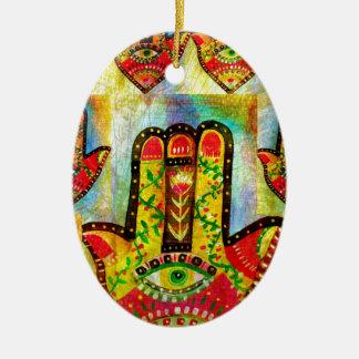 Hamsa手の芸術のカラフルな絵画 セラミックオーナメント