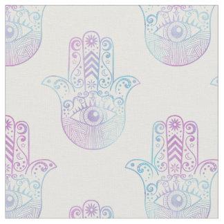 Hamsa手パターン紫色および青 ファブリック