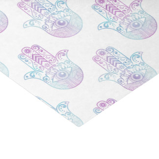 Hamsa手パターン紫色および青 薄葉紙