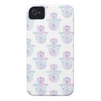 Hamsa手パターン紫色および青 Case-Mate iPhone 4 ケース