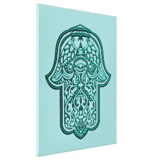 Hamsa (ティール(緑がかった色))のHenna手 キャンバスプリント