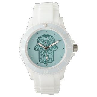 Hamsa (ティール(緑がかった色))のHenna手 腕時計