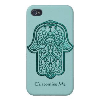 Hamsa (ティール(緑がかった色))のHenna手 iPhone 4/4Sケース