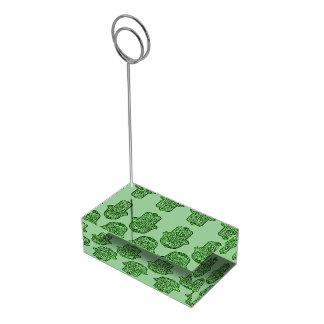 Hamsa (緑)のHenna手 テーブルカードホルダー
