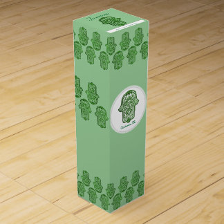 Hamsa (緑)のHenna手 ワイン 化粧箱