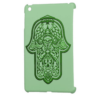 Hamsa (緑)のHenna手 iPad Miniケース