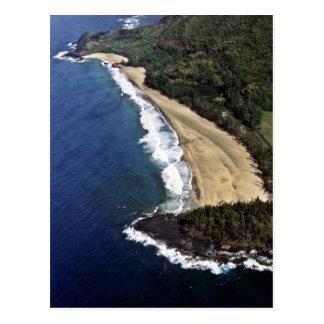 Hanaleiのビーチ-カウアイ島の空中写真 ポストカード