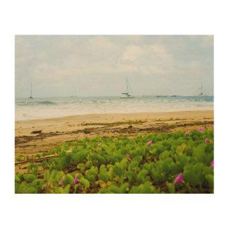 Hanalei湾のカウアイ島ハワイのビーチ及びボート ウッドウォールアート