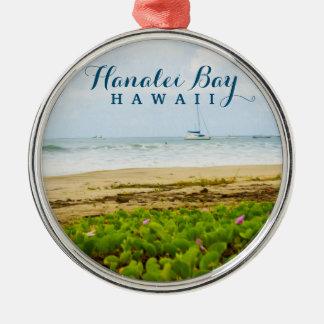 Hanalei湾のカウアイ島ハワイのビーチ及びボート メタルオーナメント