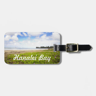 Hanalei湾、カウアイ島ハワイのビーチの花 ラゲッジタグ