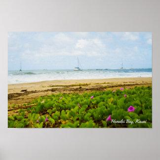 Hanalei湾 • カウアイ島ハワイ • ビーチ及びボート場面 ポスター