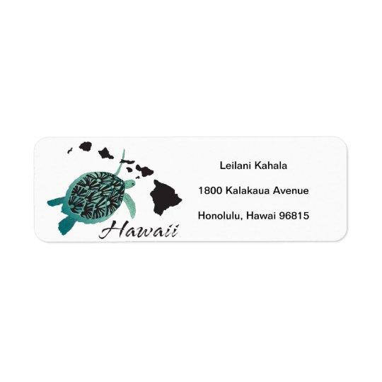 Hanauma湾のハワイのカメ 返信用宛名ラベル