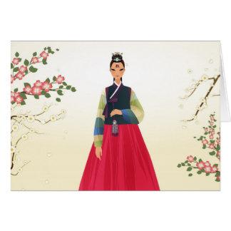 hanbokの韓国の女の子 カード