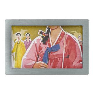 Hanbokを身に着けている韓国の女性 長方形ベルトバックル