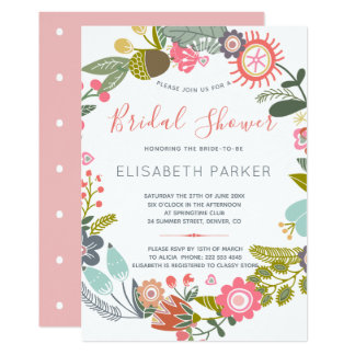Hand drawn blooms meadow wreath bridal shower カード