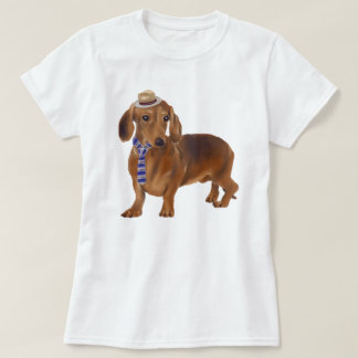 Hand-painted Hipster Dachshund Dog Tシャツ