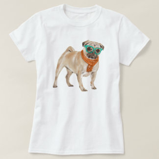 Hand-painted Hipster Frenchie Pug Bulldog Tシャツ