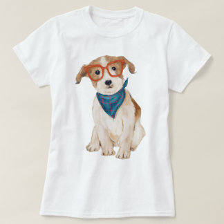 Hand-painted Hipster Jack Russell Terrier Dog Tシャツ