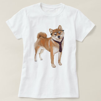 Hand-painted Hipster Shiba Inu Japanese Dog Tシャツ