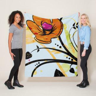Hand  Painted  Wild Poppy Flower Fleece Blanket フリースブランケット