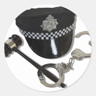 HandcuffsGavelPoliceHat073110 ラウンドシール