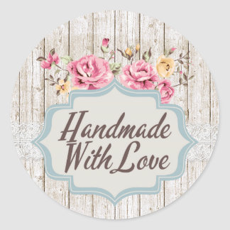 Handmade With Love Shabby Chic Floral Rustic Wood ラウンドシール
