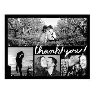 Handwrite 4の写真のコラージュは黒い郵便はがき感謝していしています 葉書き