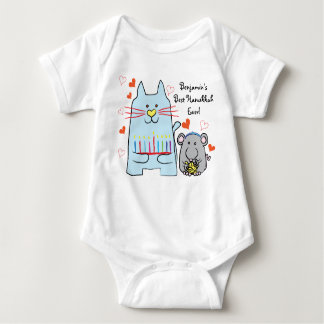 Hanukkah Baby Jersey Body Suit/Blue Cat and Mouse ベビーボディスーツ