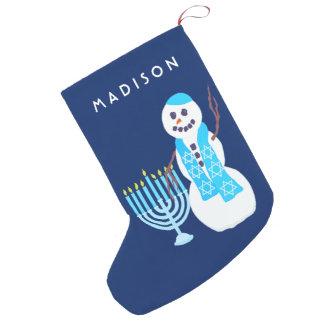 Hanukkah Jewish Snowman Menorah SML Chrismukkah スモールクリスマスストッキング