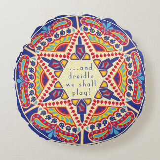 "Hanukkah Round Pillow ""Chanukah Paisley Dreidle"" ラウンドクッション"