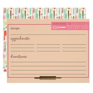 Happiness Is Homemade Recipe Cards-Cream カード
