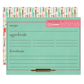 Happiness Is Homemade Recipe Cards-Teal カード