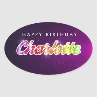 Happy Birthday Charlotte Sticker 楕円形シール