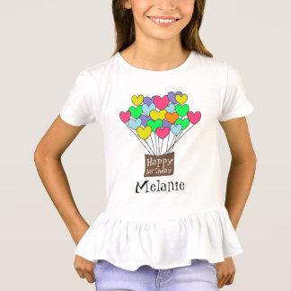 Happy birthday Girl's Name Cute Heart Balloons Tシャツ