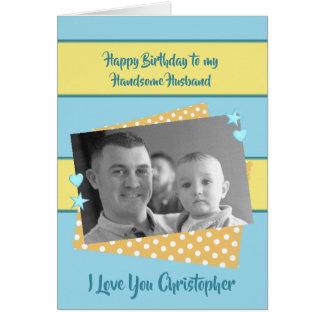 Happy Birthday Husband blue and yellow photo カード