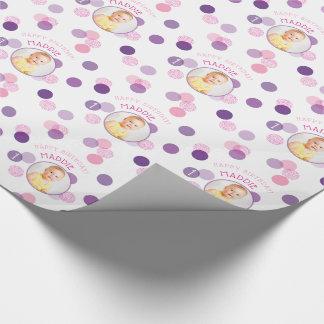 HAPPY BIRTHDAY modern photo confetti spots purple ラッピングペーパー