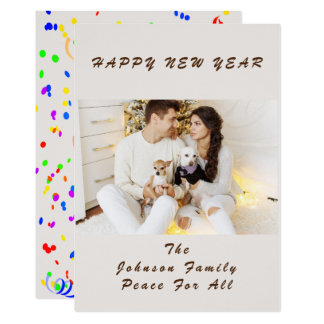 Happy Couple New Year's Day Confetti Celebrate カード