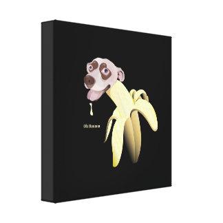 HAPPY&CUTEのバナナの犬Ohバナナ キャンバスプリント