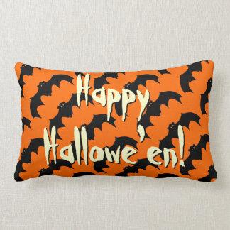 Happy Halloween Black Bat Pattern Orange ランバークッション
