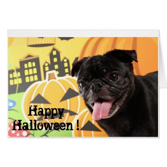 Happy Halloween Card Black Pug カード