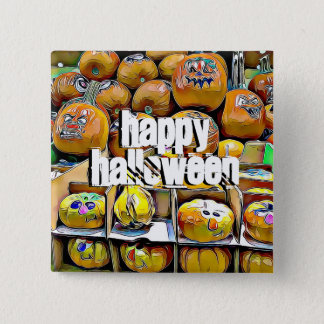 Happy Halloween Cute Pumpkin Stand Button 5.1cm 正方形バッジ