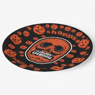 Happy Halloween - Grinder Teeth Skull 2 ペーパープレート