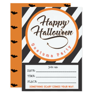Happy Halloween Part Invite - Bats Theme カード