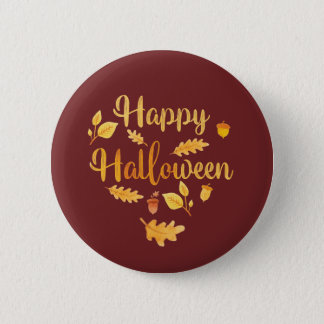 Happy Halloween Pin Autumn Button 5.7cm 丸型バッジ