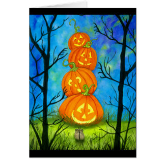 Happy Halloween Pumpkin Totem by Bihrle カード