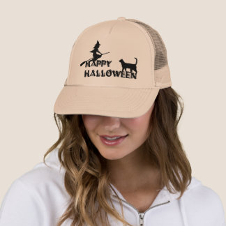 happy halloween witch and black cat  Trucker hat キャップ