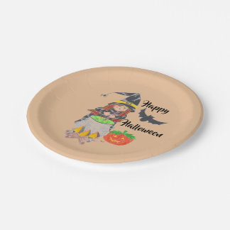 Happy Halloween witch paper plates ペーパープレート