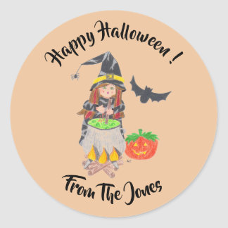 Happy Halloween witch personalized stickers ラウンドシール